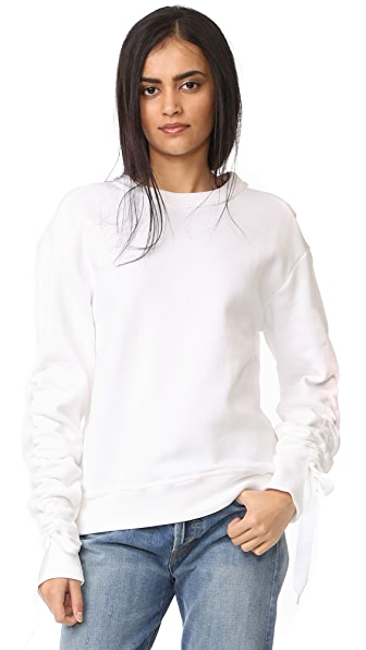 DKNY Pullover with Ruched Ties - White