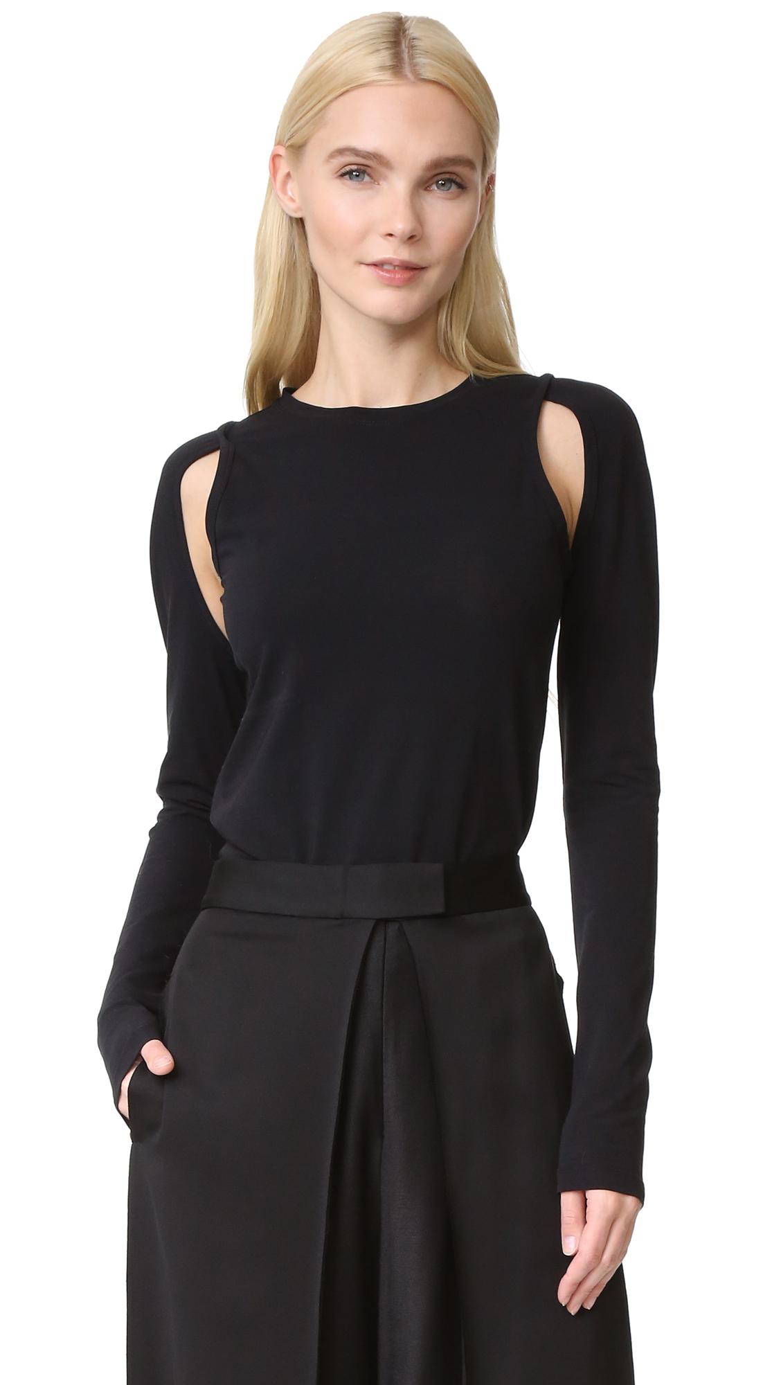Dkny Knit Top With Cutouts - Black at Shopbop
