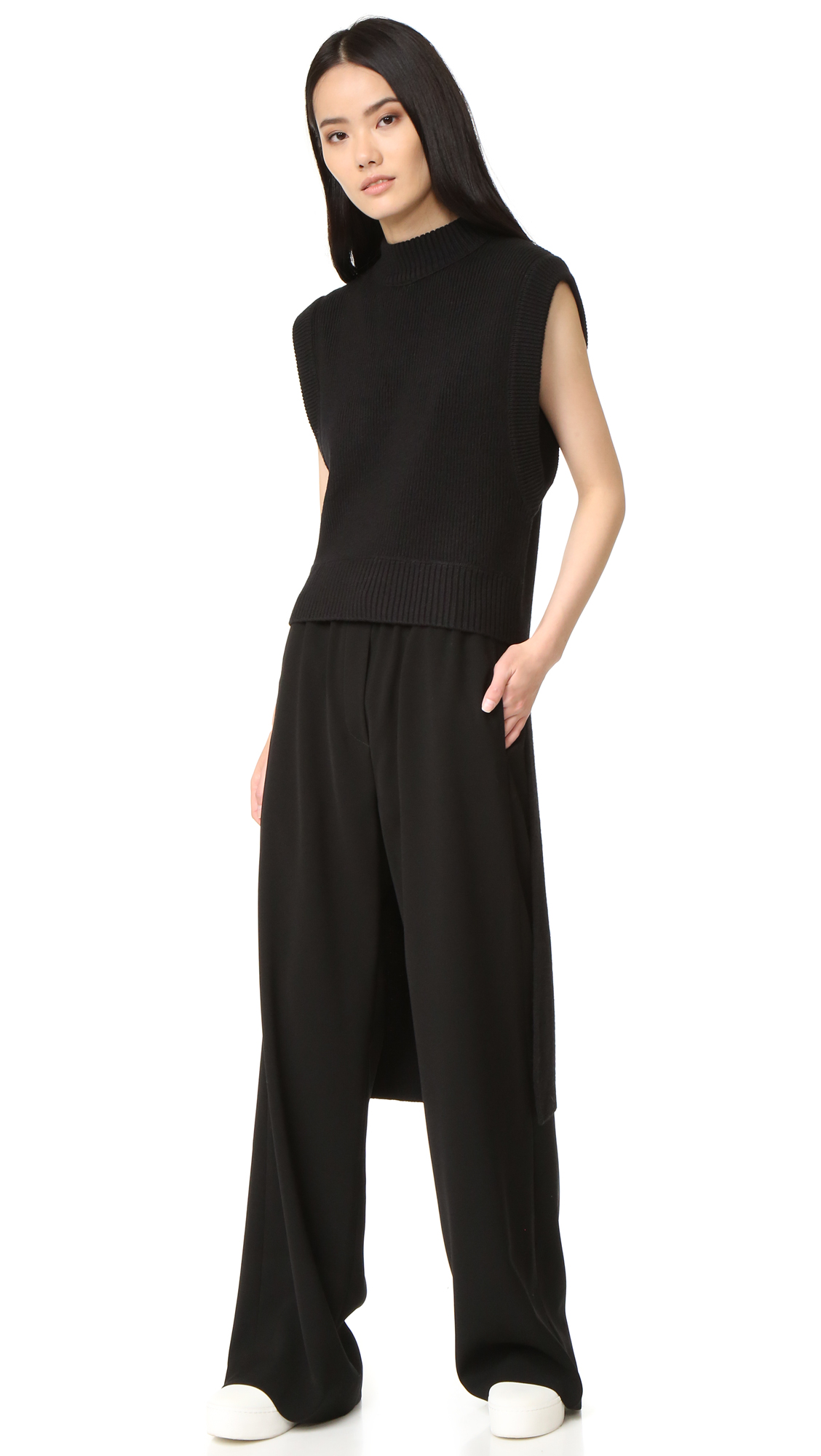Dkny Crew Neck Sweater With Extra Long Hem - Black at Shopbop