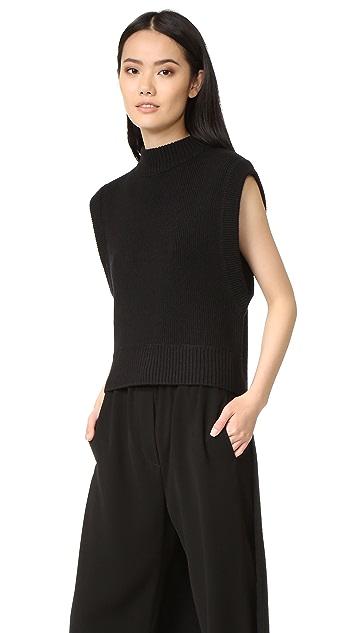 DKNY Crew Neck Sweater with Extra Long Hem