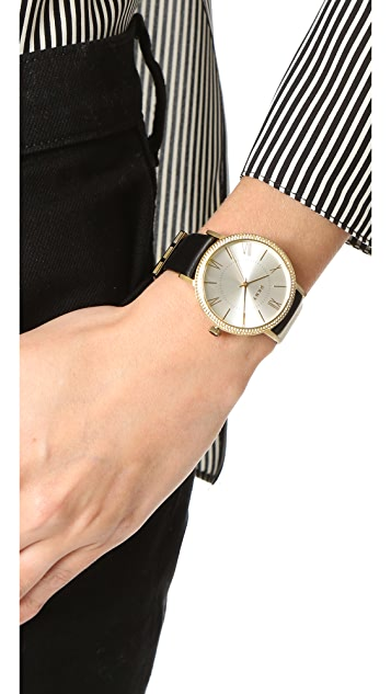 DKNY Willoughby Leather Strap Watch