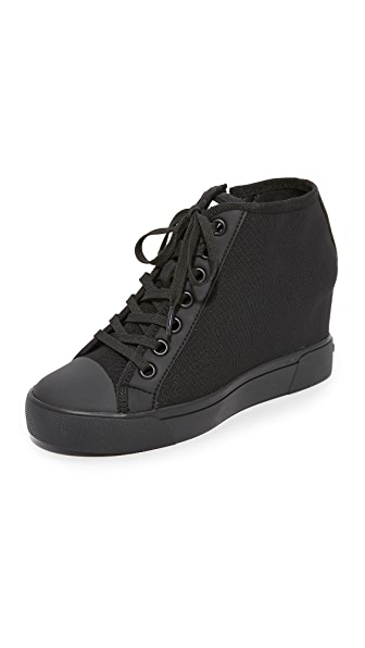 DKNY Cindy Mesh Wedge Sneakers - Black
