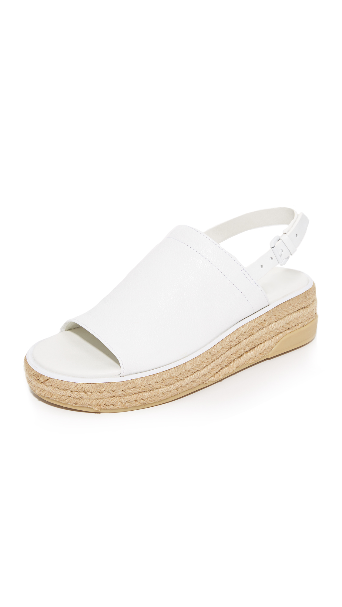 DKNY Sally Leather Espadrille Sandals - White