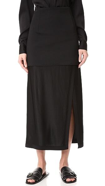 DKNY Midi Skirt with Slit & Combo Fabric