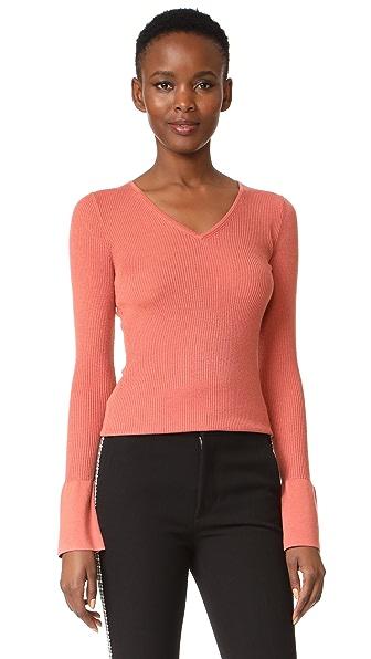 DKNY Bell Sleeve Tight V Neck Sweater