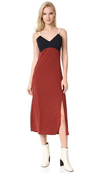 DKNY V Neck Slip Dress - Oxide/Classic Navy/White