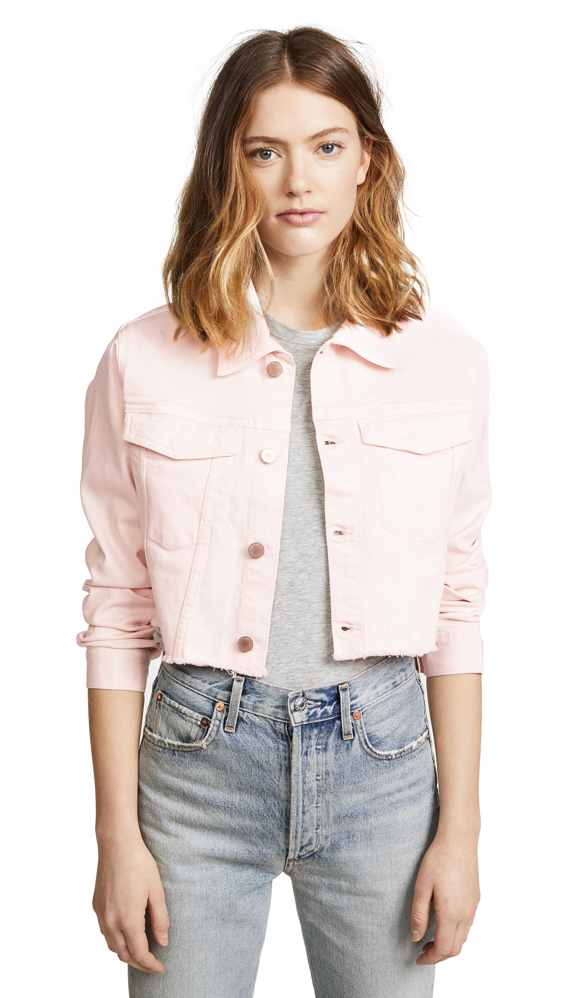 DL1961 Shawn Cropped Boyfriend Jacket In Blush Pink