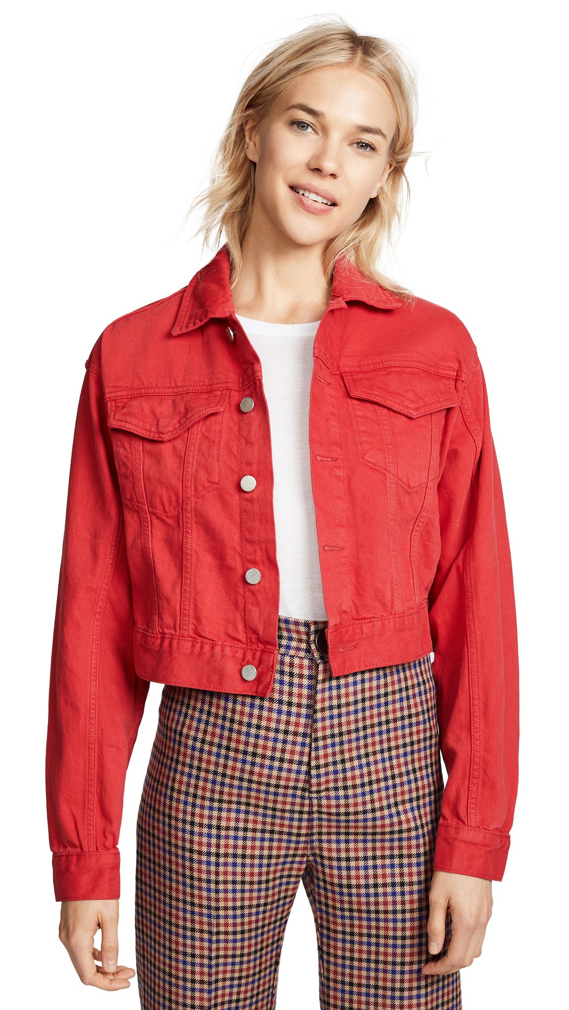 DL1961 Annie Cropped Denim Jacket In Outlaw Red