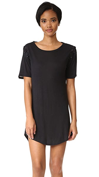 David Lerner Lace Up T-Shirt Dress - Black