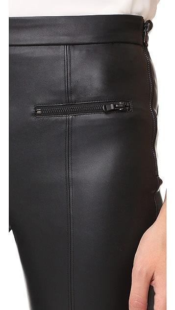 David Lerner Vegan Leather Front Zip Leggings