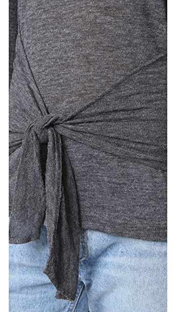 David Lerner Tie Front Long Sleeve Tee