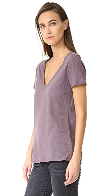 David Lerner Slub Deep V Neck Tee