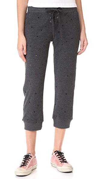 David Lerner Cropped Lace Up Track Pants - Charcoal