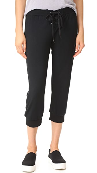 Cropped Lace Up Track Pants
