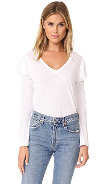 David Lerner V Neck Top with Ruffle Detail - White