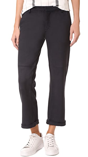David Lerner Slouch Cropped Chinos In Classic Black
