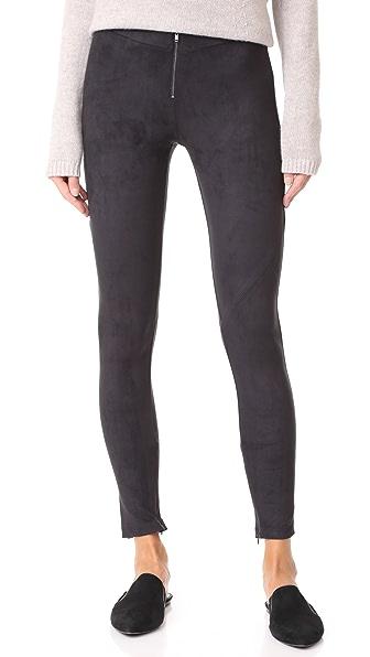 David Lerner Front Zip Leggings In Classic Black