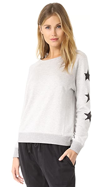 David Lerner Stars Raglan Pullover - Light Heather Grey
