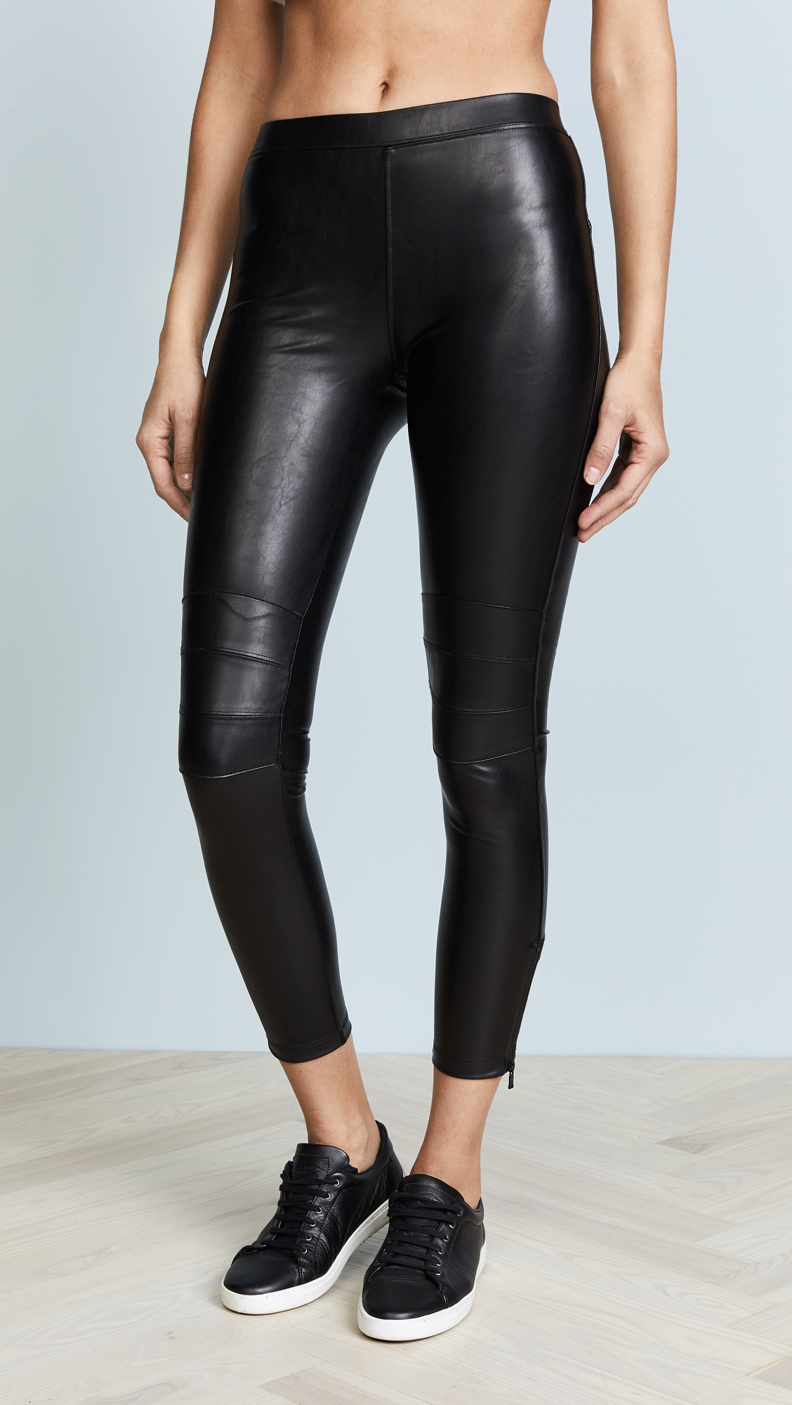 David Lerner Ankle Zip Moto Leggings - Classic Black