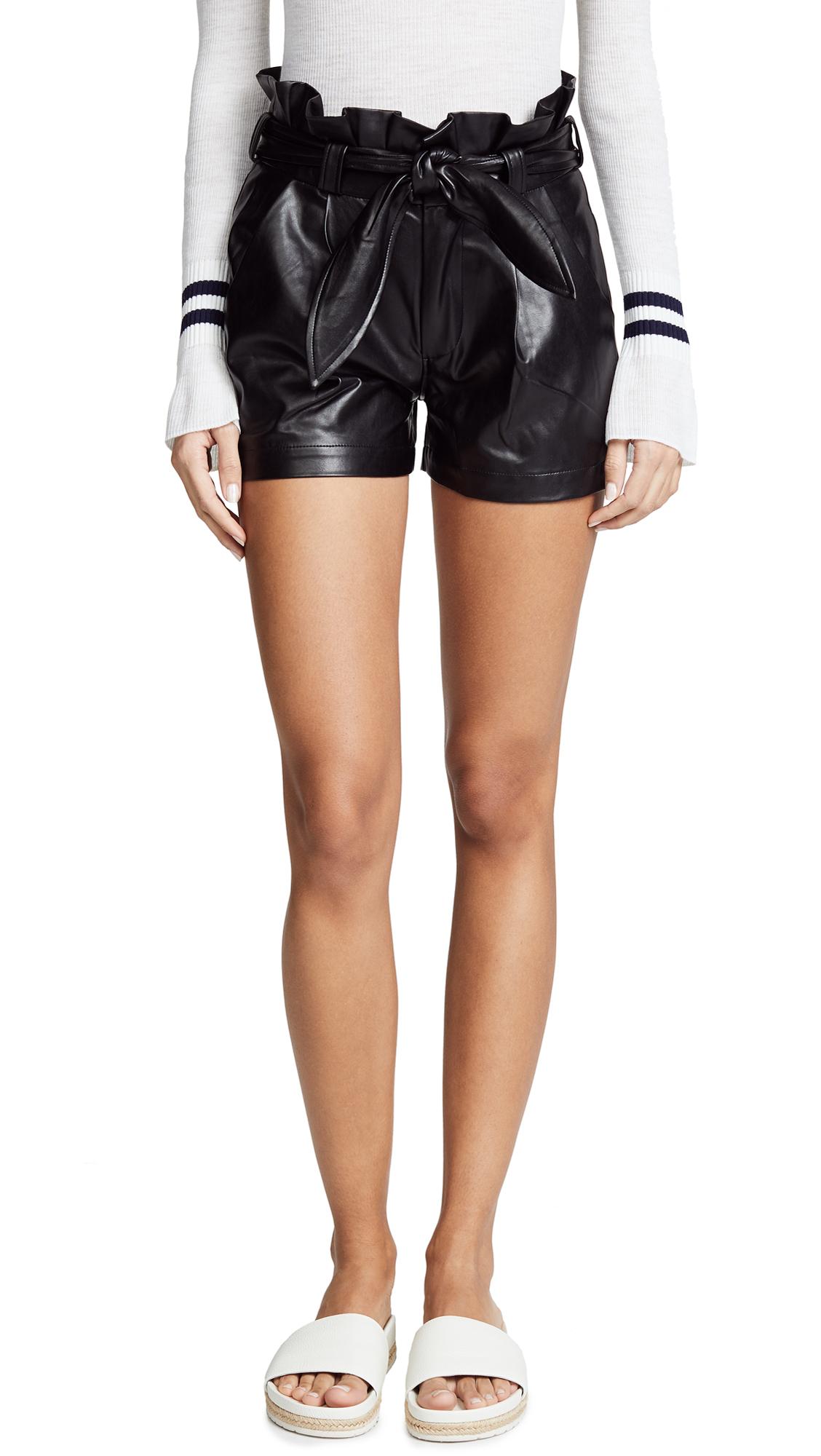 David Lerner Paperbag Waist Belted Shorts In Classic Black