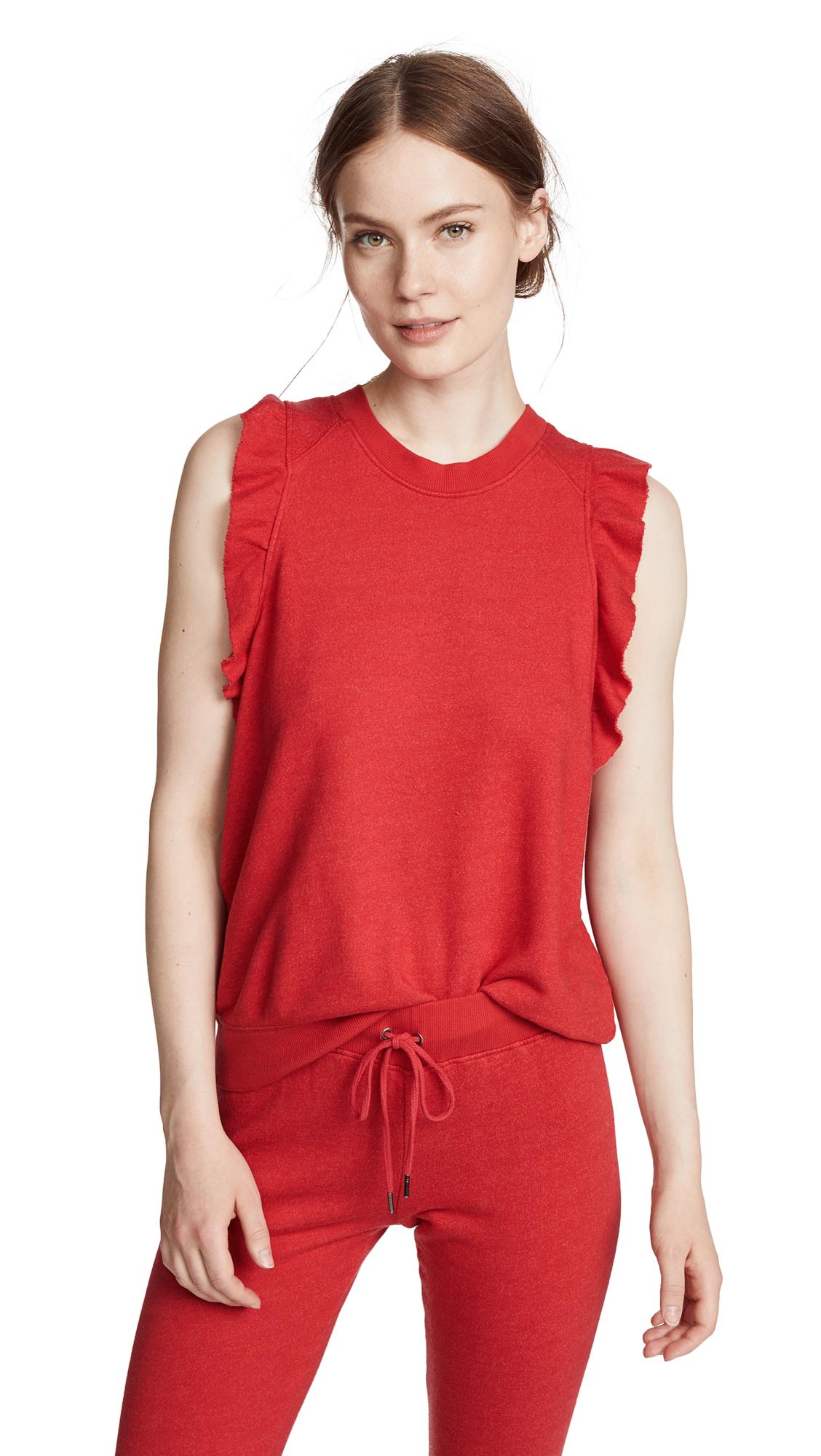 David Lerner Ruffle Sleeveless Pullover In Poppy