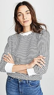 David Lerner Striped Puff Shoulder Sweatshirt