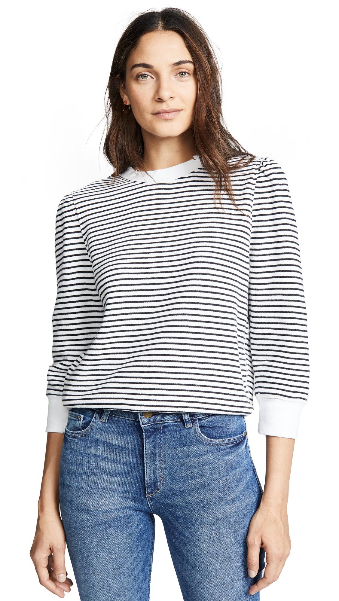 David Lerner Striped Puff Shoulder Sweatshirt In Black/White Stripe