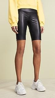 David Lerner Vegan Leather Bike Shorts