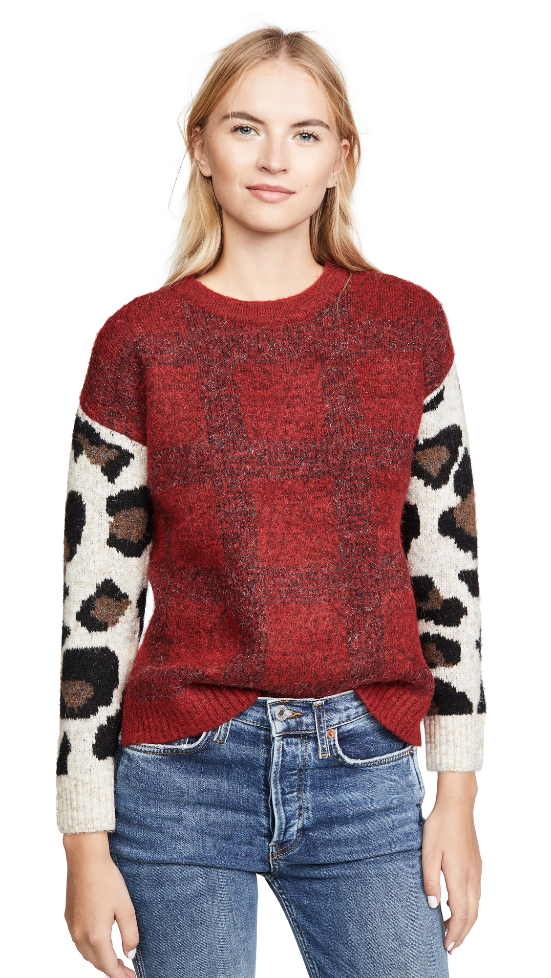 Buy DNA online - photo of DNA Plaid Leopard Sweater
