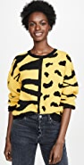 DNA 斑马豹纹混合毛衣