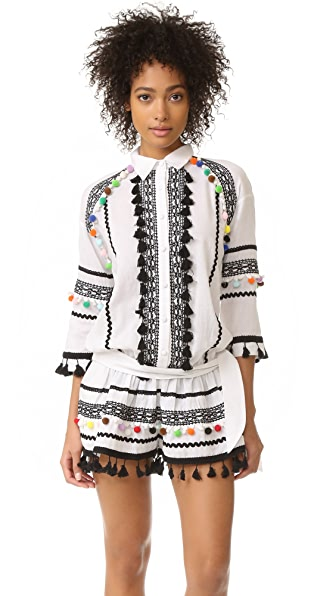 DODO BAR OR Delilah Romper - White/Multi