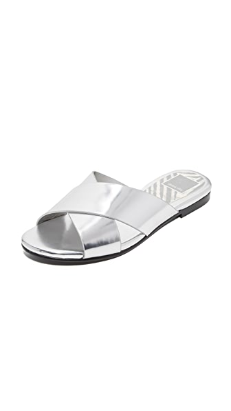 Dolce Vita Karlo Metallic Slide Sandals In Silver