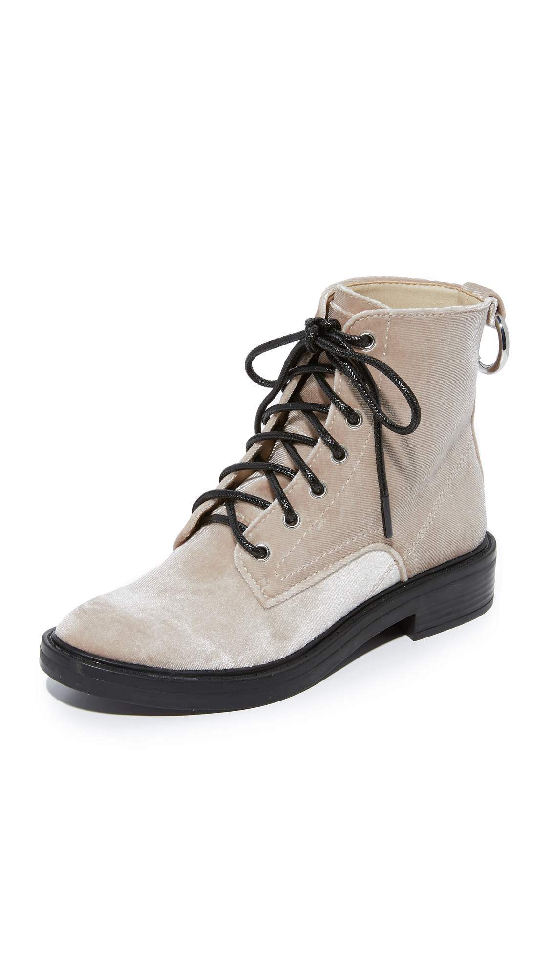 Dolce Vita Bardot Velvet Combat Boots - Silver