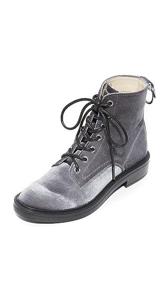Dolce Vita Bardot Lace Up Combat Boots - Charcoal