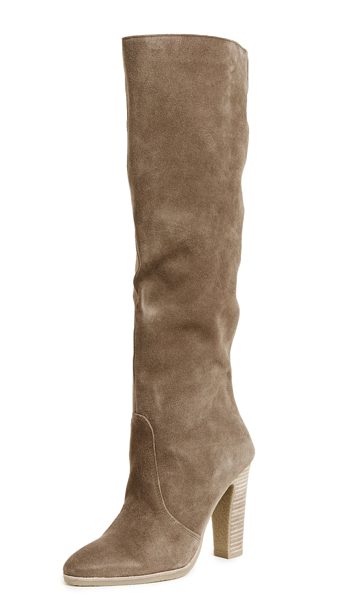 Dolce Vita Celine Knee High Stacked Heel Boots - Khaki
