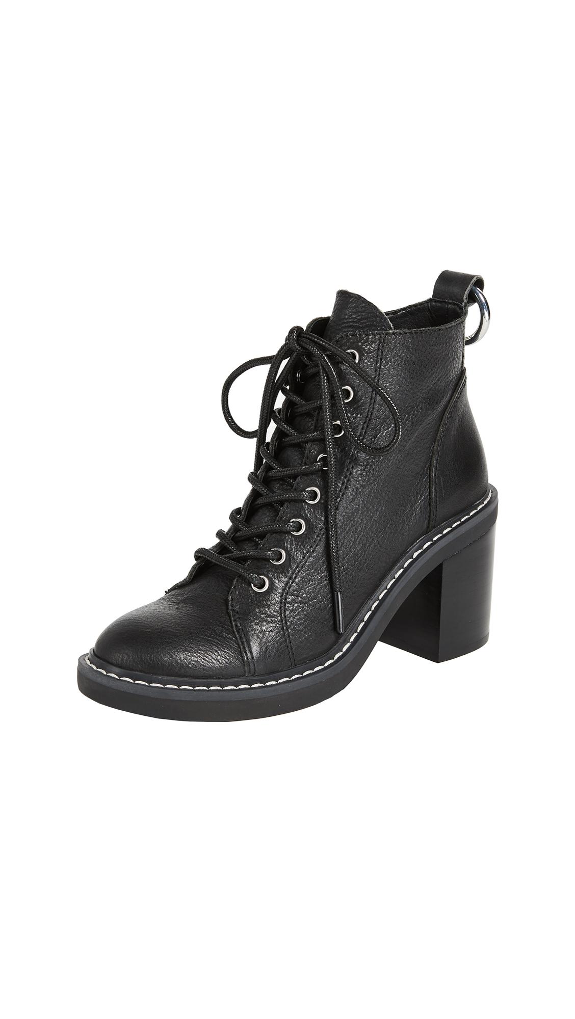Dolce Vita Lynx Combat Heeled Boots - Black