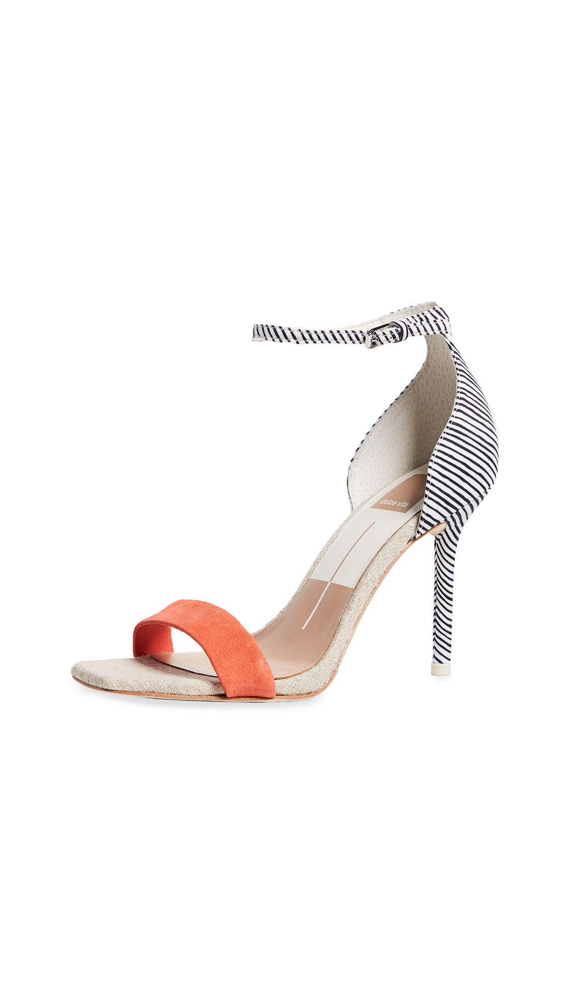 Dolce Vita Halo Ankle Strap Sandals - White Stripe