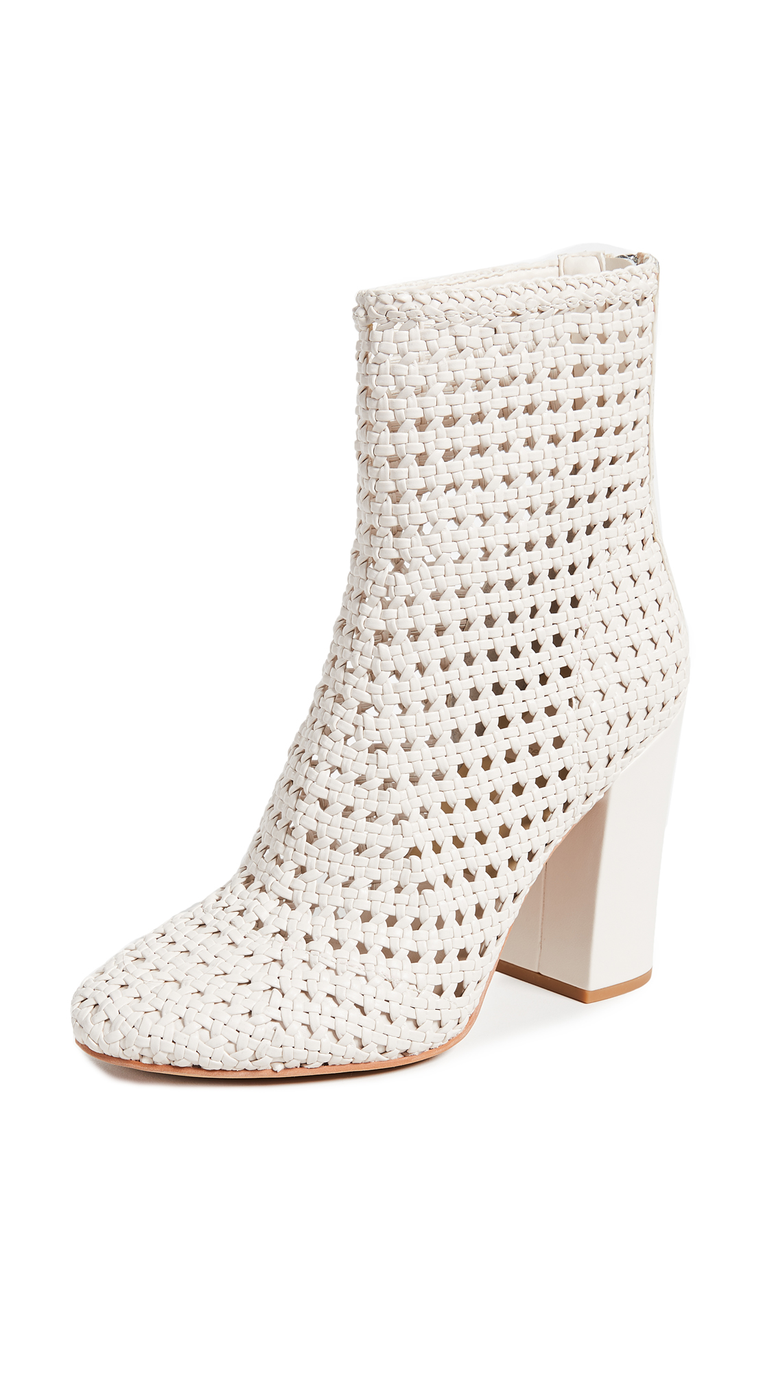 Dolce Vita Scotch Woven Ankle Boots with Block Heel - Ivory