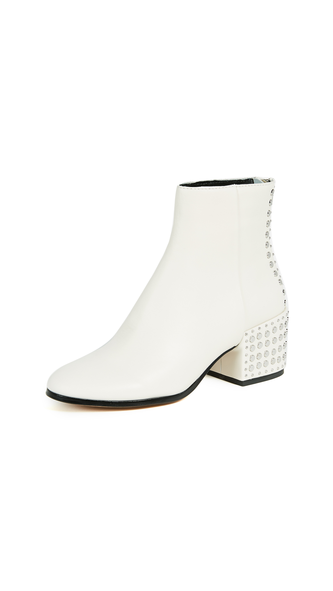Dolce Vita Mazey Block Heel Ankle Boots - Off White