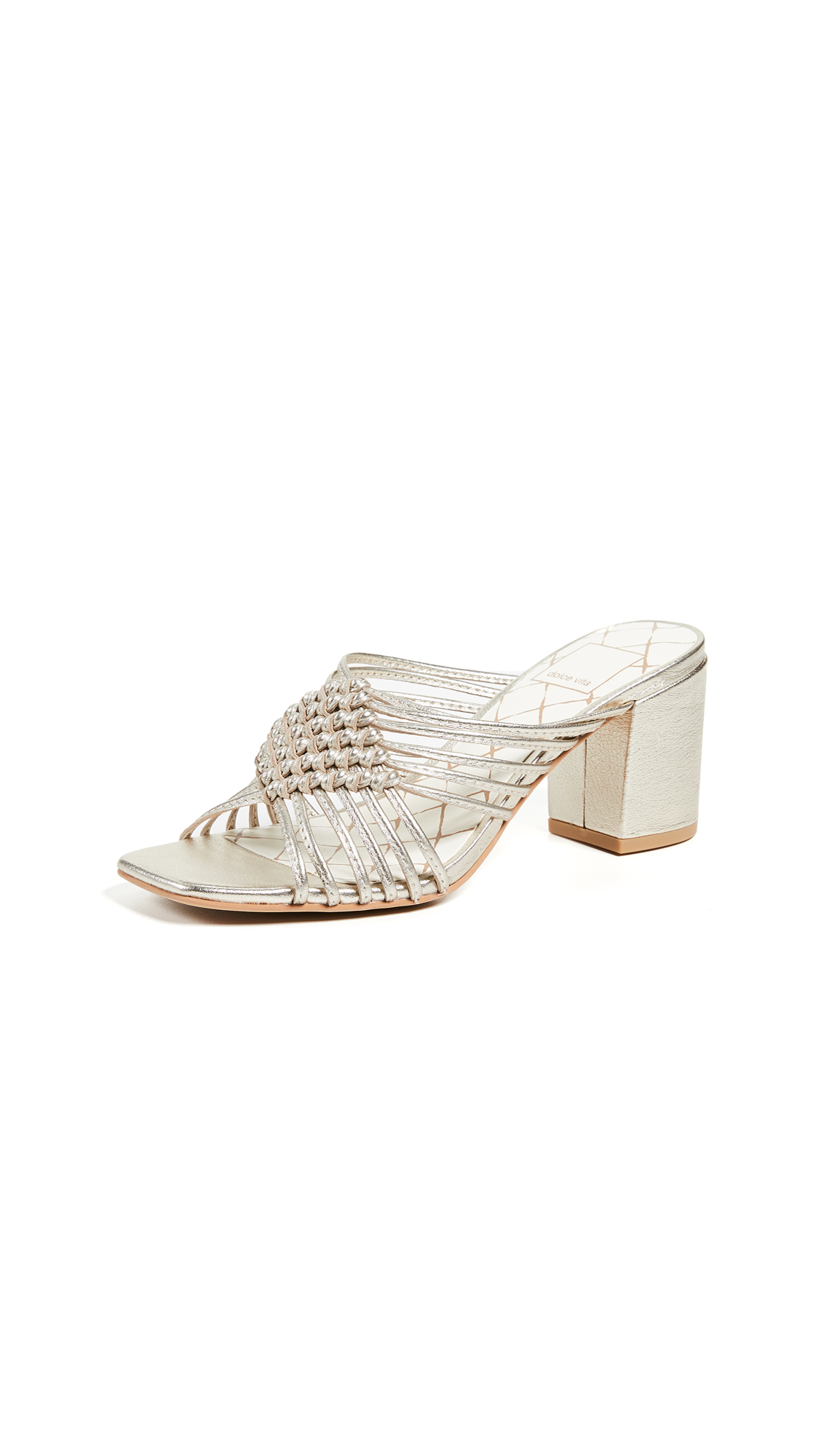 Dolce Vita Delana Woven Block Heel Sandals - Light Gold