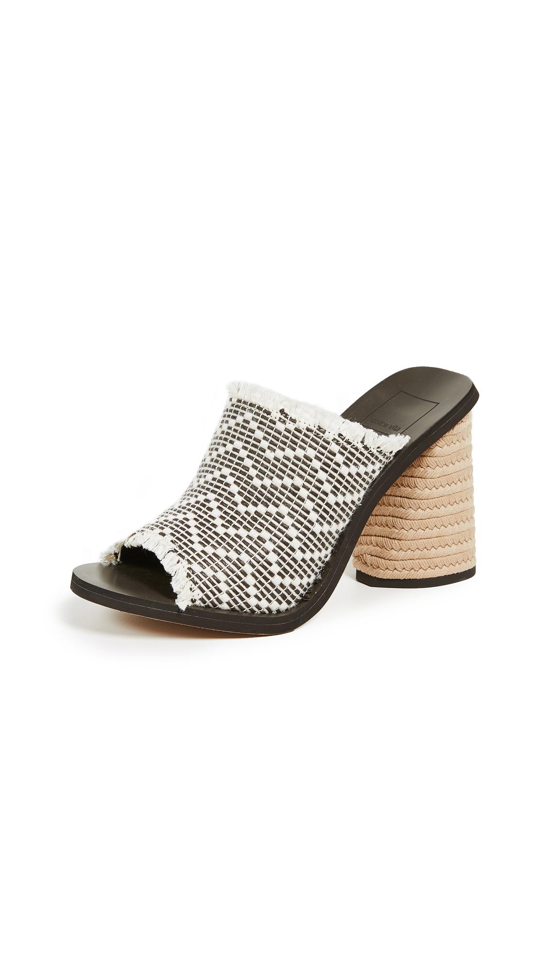 Dolce Vita Alba Block Heel Sandals - Black/White