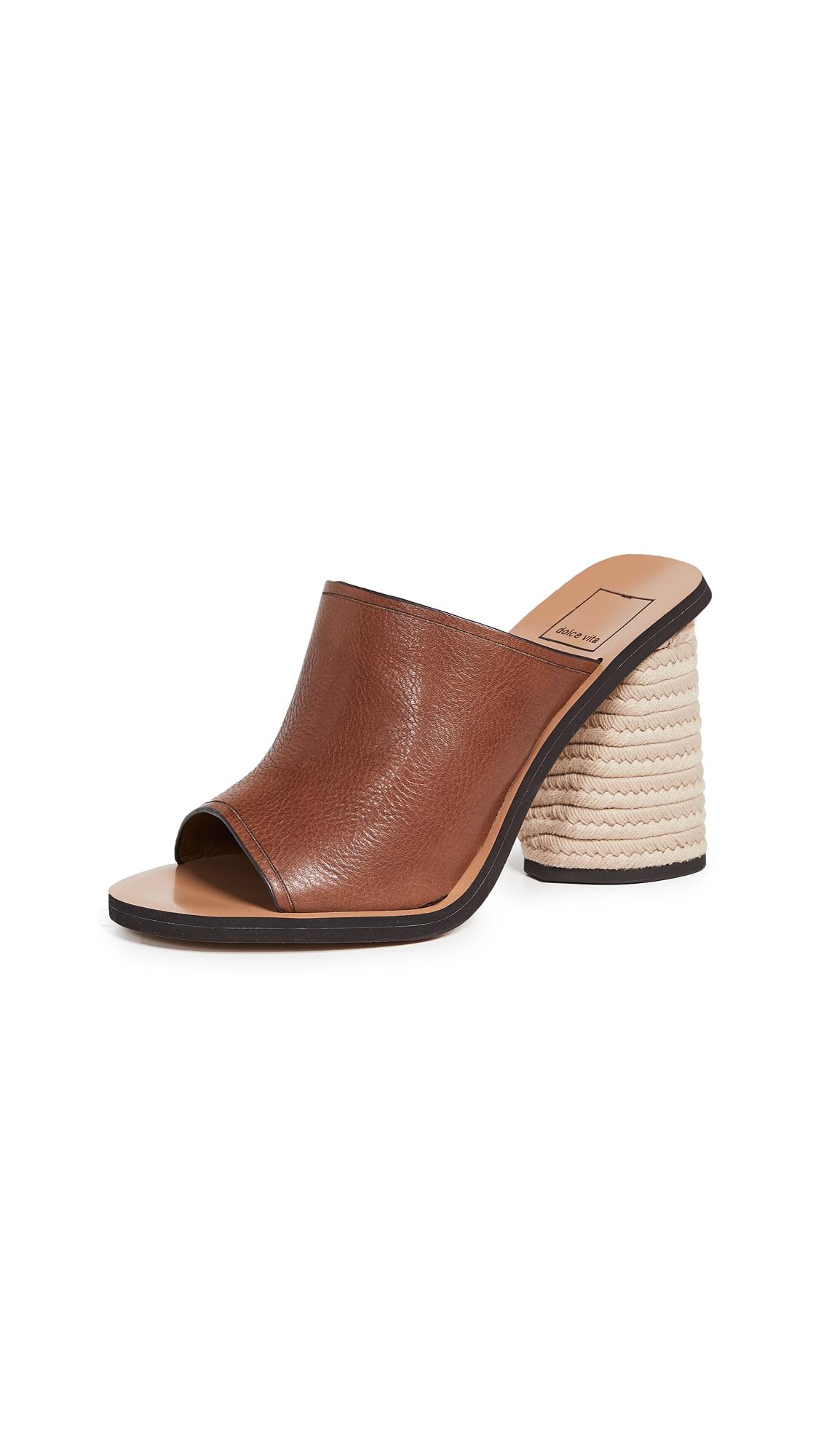 Dolce Vita Alba Block Heel Mules - Brown
