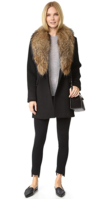Doma Wool Coat with Detachable Fur Collar