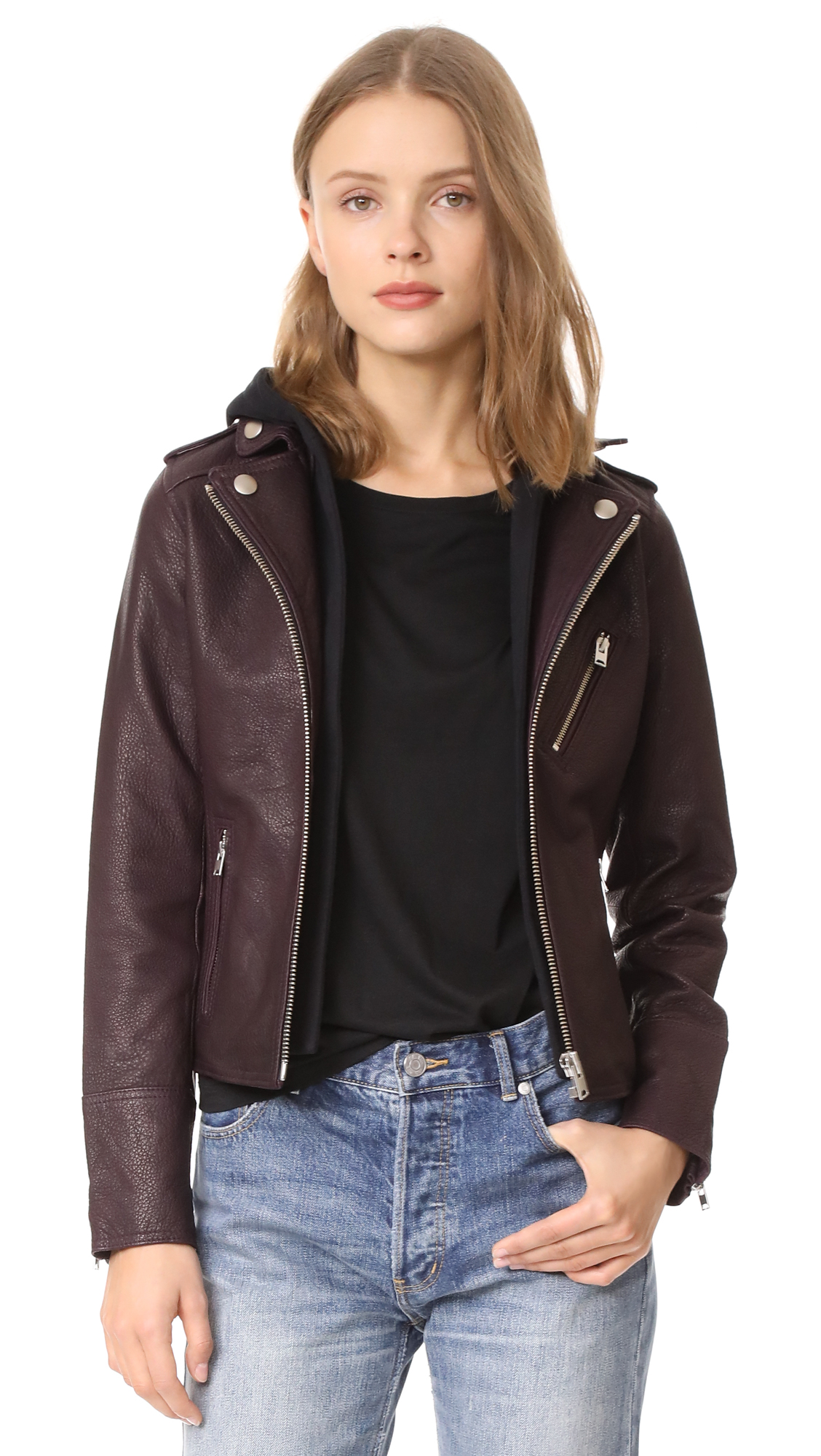 Doma Hooded Leather Jacket - Grappe