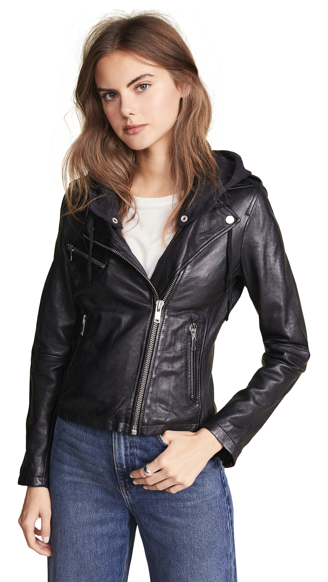 DOMA Hoodie Leather Jacket in Black