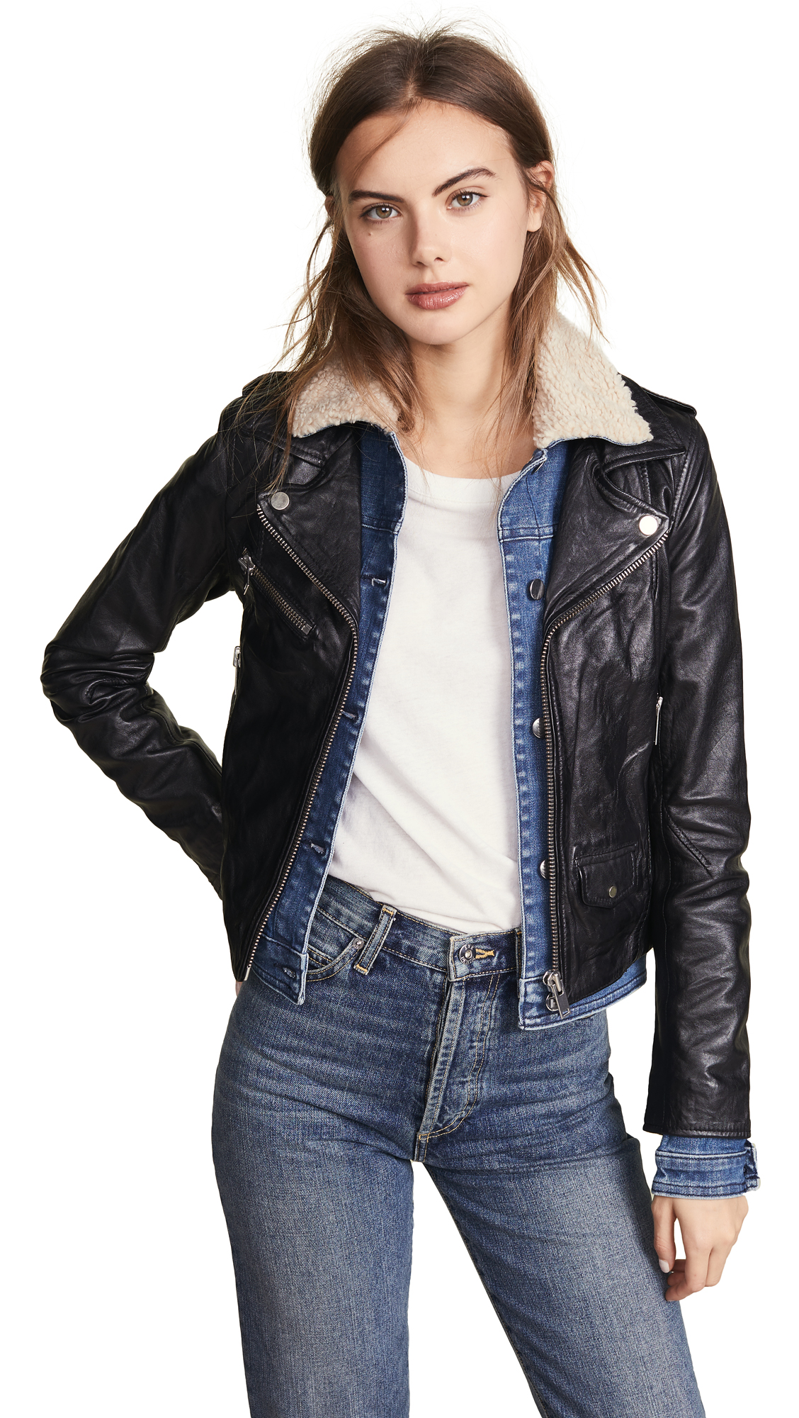 DOMA Sherpa Denim & Leather Jacket in Black