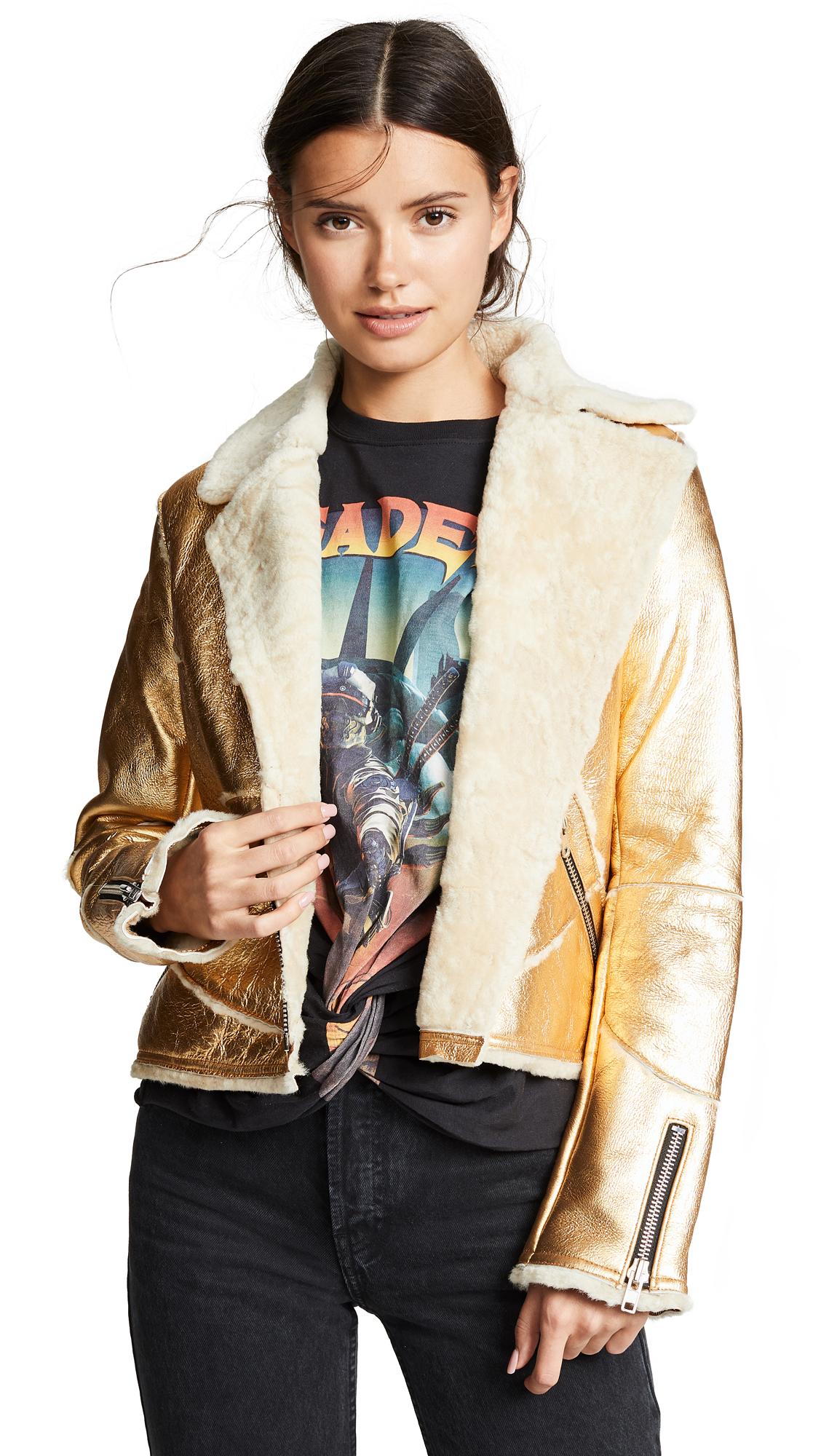 DOMA Metallic Leather Jacket in Gold