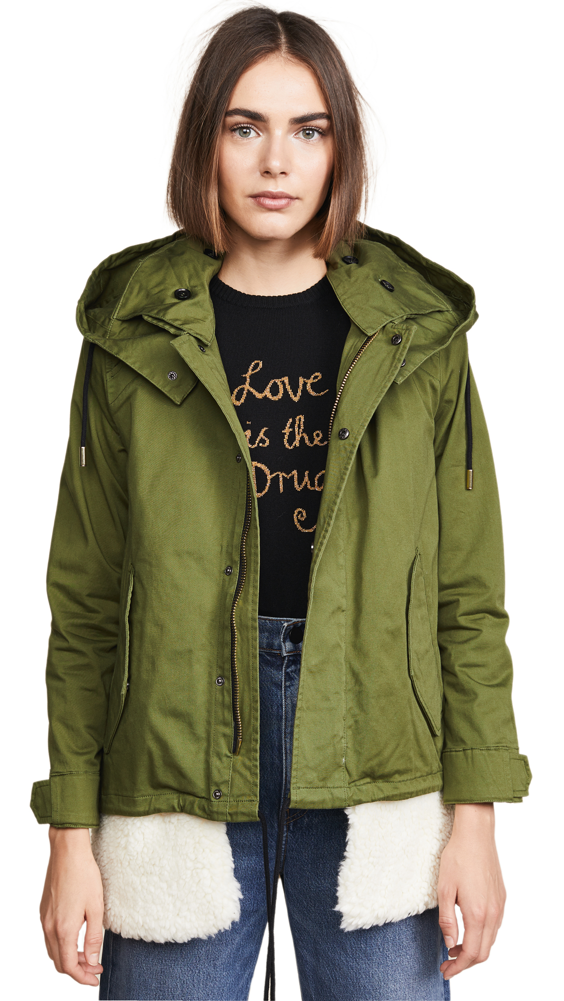 DOMA Shearling Lined Parka in Army Green