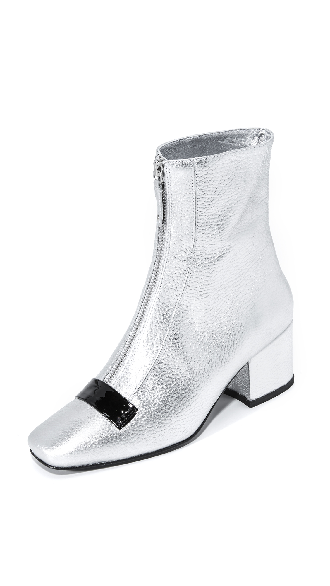 Metallic pebbled leather adds glam rock appeal to these square toe Dorateymur booties. Patent trims the exposed front zip. Covered heel and leather sole. Leather: Cowhide. Made in Portugal. This item cannot be gift boxed. Measurements