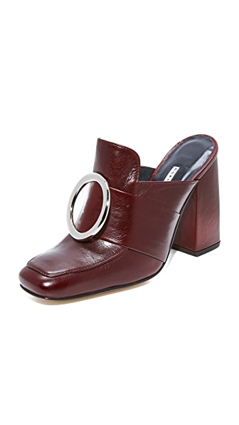Dorateymur Munise Buckle Mules In Maroon